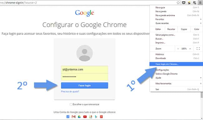 Login no google chrome