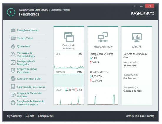 kaspersky algumas ferramentas do antivirus
